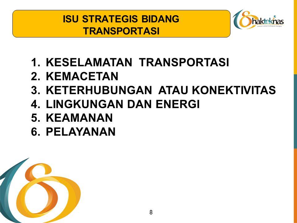1.KESELAMATAN TRANSPORTASI 2.KEMACETAN 3.KETERHUBUNGAN ATAU KONEKTIVITAS 4.LINGKUNGAN DAN ENERGI 5.KEAMANAN 6.PELAYANAN 8 ISU STRATEGIS BIDANG TRANSPO