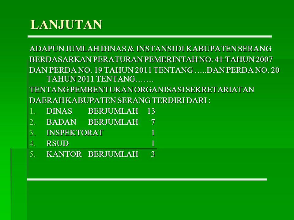 LANJUTAN ADAPUN JUMLAH DINAS & INSTANSI DI KABUPATEN SERANG BERDASARKAN PERATURAN PEMERINTAH NO. 41 TAHUN 2007 DAN PERDA NO. 19 TAHUN 2011 TENTANG …..