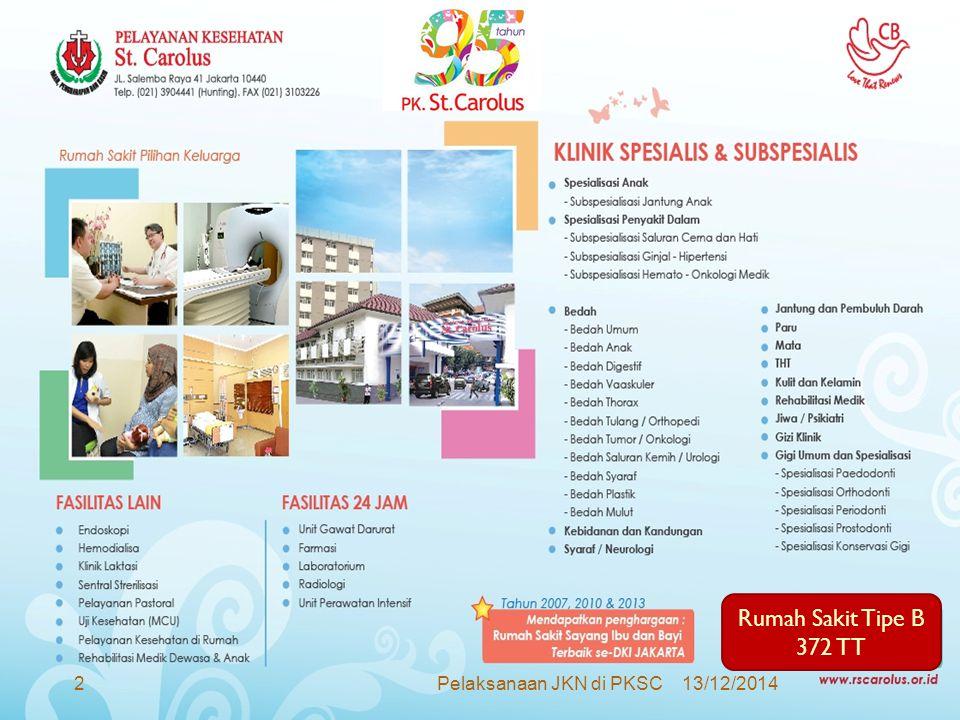 Pelaksanaan Pelayanan JKN di PKSC  Per 1 Januari 2014  Termasuk dalam 81 RS Swasta di Jakarta yang menjadi Provider BPJS  Rawat inap & Rawat Jalan (termasuk Hemodialisa)  Thn 2013 :  Pembentukan Tim Persiapan Pelaksanaan JKN di P.K.