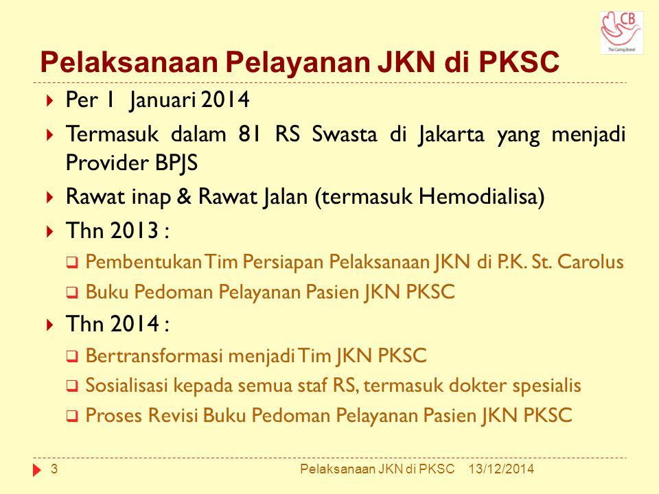 Pelaksanaan Pelayanan JKN di PKSC  Per 1 Januari 2014  Termasuk dalam 81 RS Swasta di Jakarta yang menjadi Provider BPJS  Rawat inap & Rawat Jalan