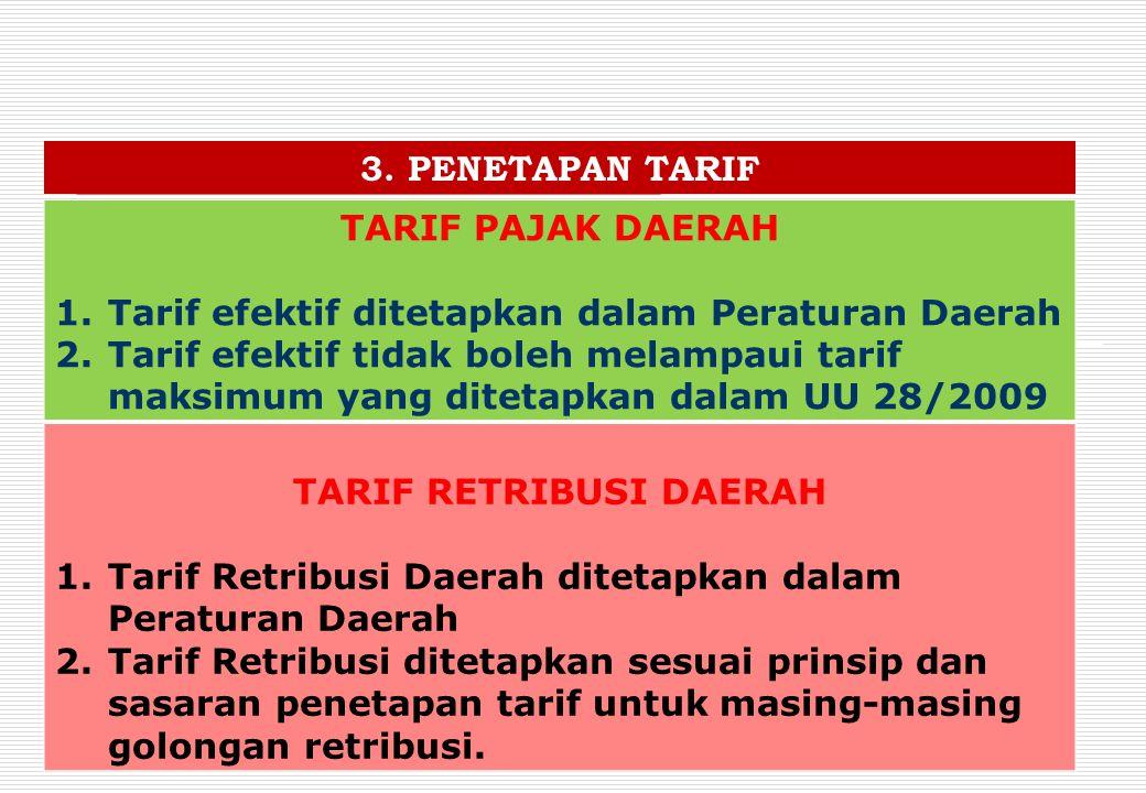 3. PENETAPAN TARIF TARIF PAJAK DAERAH 1.Tarif efektif ditetapkan dalam Peraturan Daerah 2.Tarif efektif tidak boleh melampaui tarif maksimum yang dite