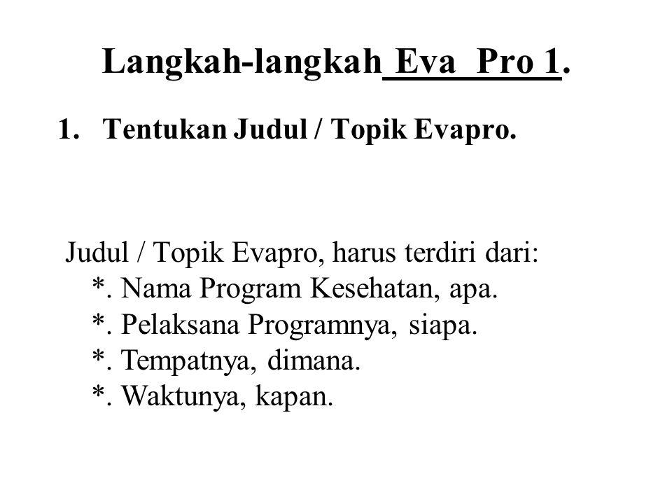Langkah-langkah Eva Pro 1. 1.Tentukan Judul / Topik Evapro. Judul / Topik Evapro, harus terdiri dari: *. Nama Program Kesehatan, apa. *. Pelaksana Pro