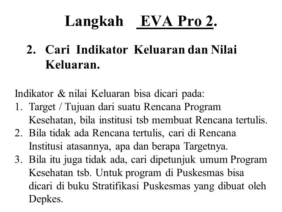 Langkah EVA Pro 2. 2.Cari Indikator Keluaran dan Nilai Keluaran. Indikator & nilai Keluaran bisa dicari pada: 1.Target / Tujuan dari suatu Rencana Pro