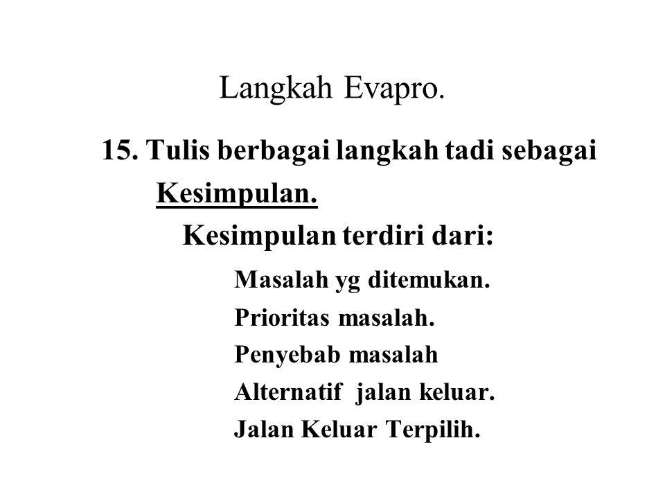 Langkah Evapro. 15. Tulis berbagai langkah tadi sebagai Kesimpulan. Kesimpulan terdiri dari: Masalah yg ditemukan. Prioritas masalah. Penyebab masalah