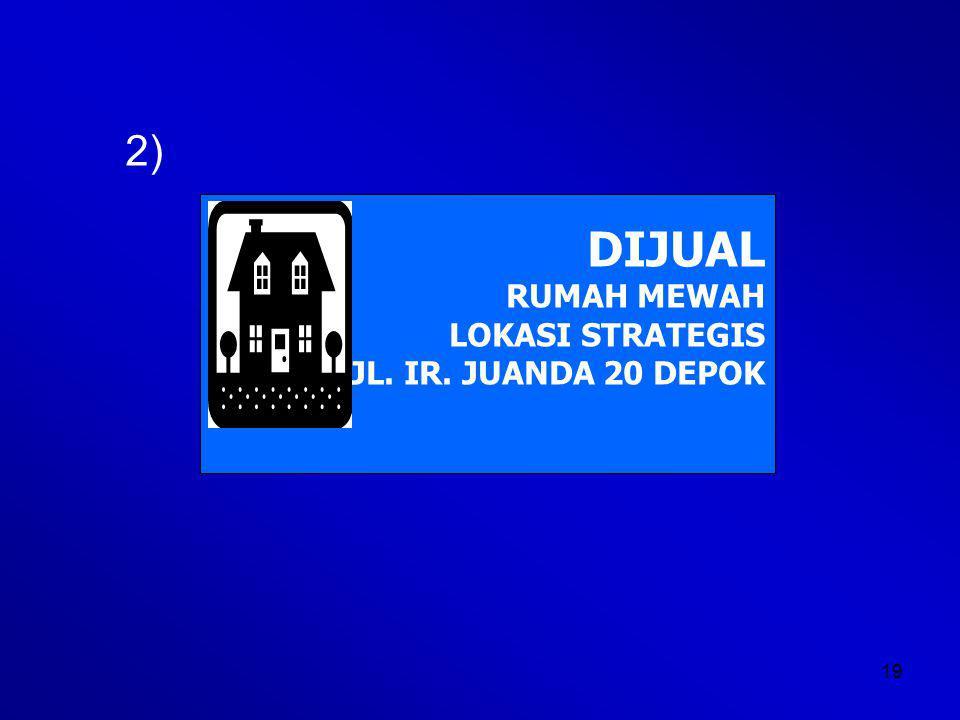 19 2) DIJUAL RUMAH MEWAH LOKASI STRATEGIS JL. IR. JUANDA 20 DEPOK