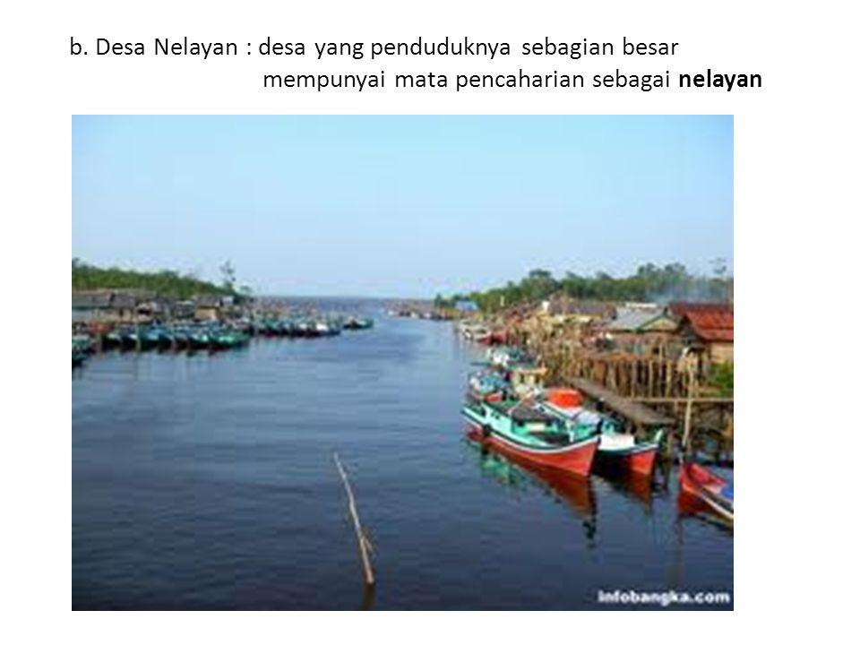 b. Desa Nelayan : desa yang penduduknya sebagian besar mempunyai mata pencaharian sebagai nelayan