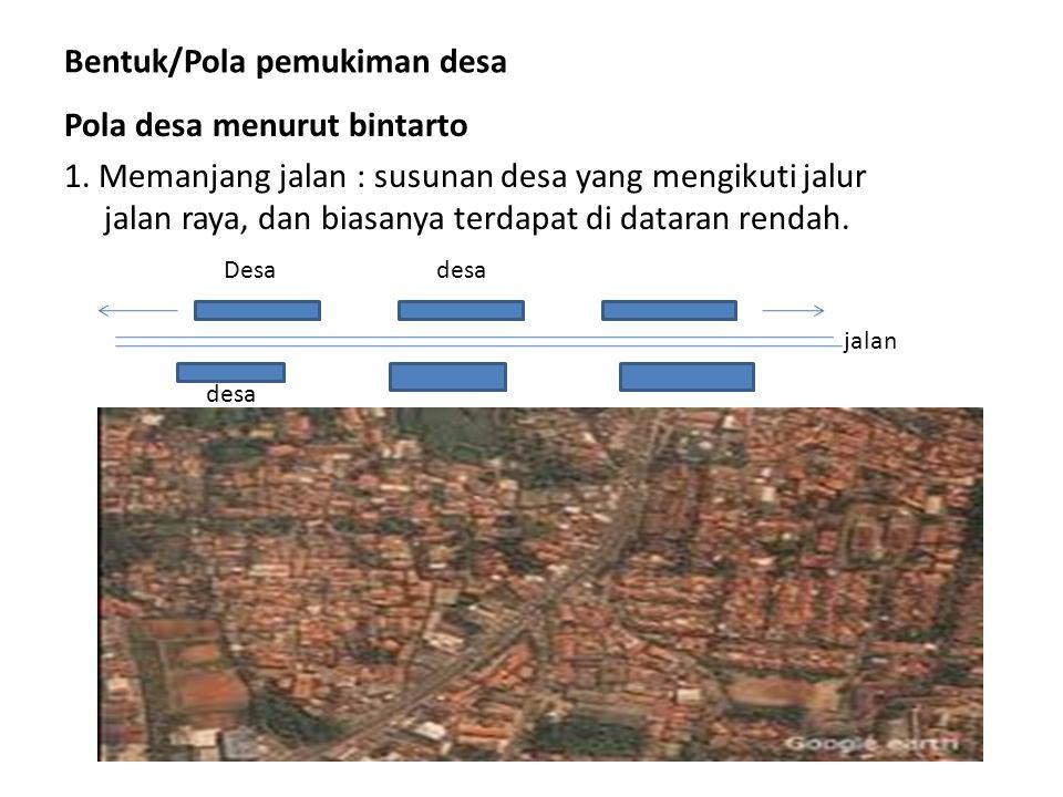 Bentuk/Pola pemukiman desa Pola desa menurut bintarto 1.