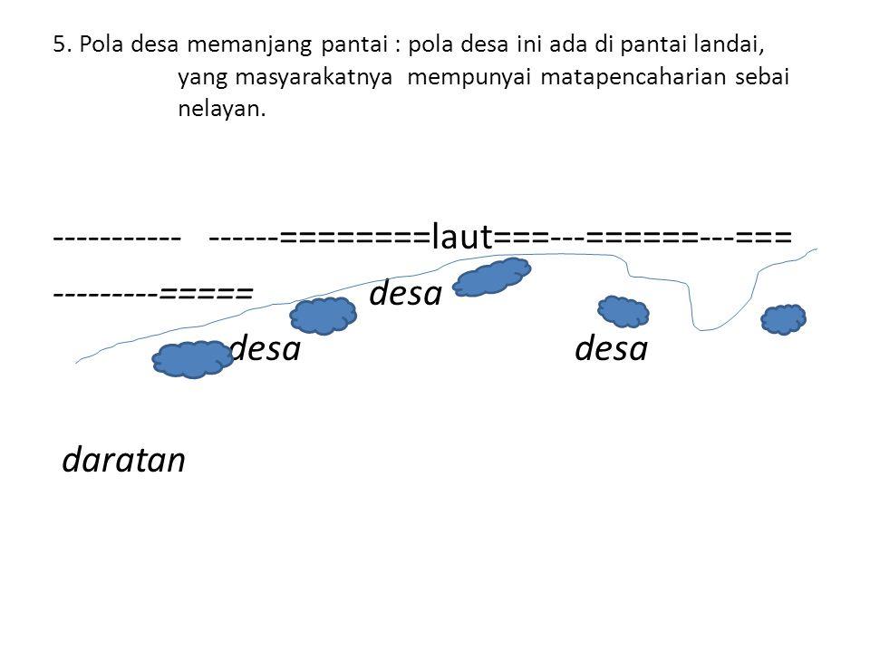 5. Pola desa memanjang pantai : pola desa ini ada di pantai landai, yang masyarakatnya mempunyai matapencaharian sebai nelayan. ----------- ------====
