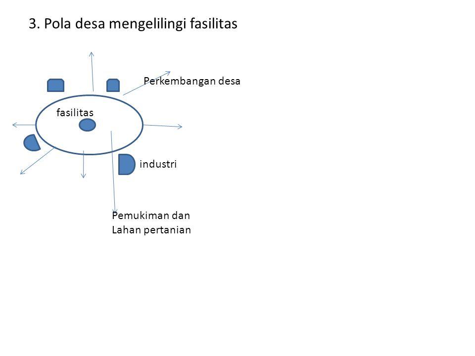 3. Pola desa mengelilingi fasilitas Perkembangan desa fasilitas industri Pemukiman dan Lahan pertanian