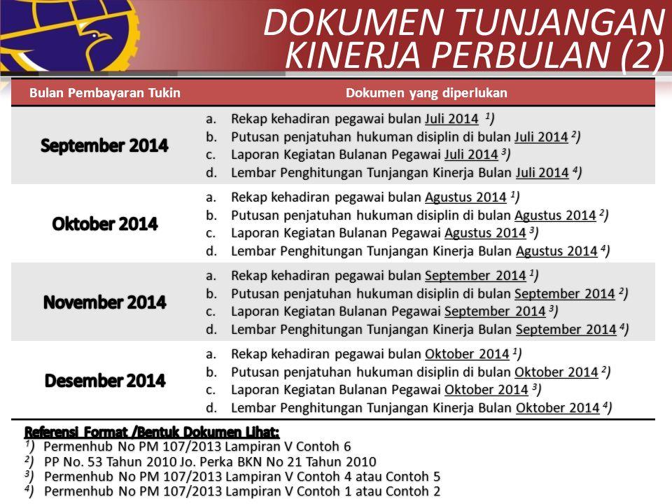 Bulan Pembayaran TukinDokumen yang diperlukan a.Rekap kehadiran pegawai bulan Juli 2014 1 ) b.Putusan penjatuhan hukuman disiplin di bulan Juli 2014 2