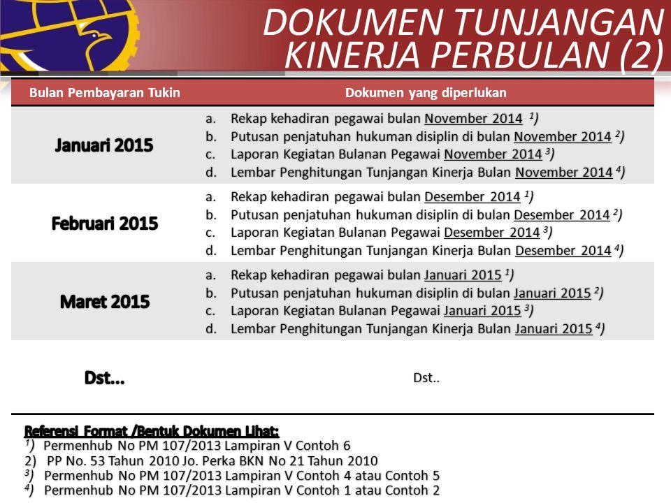 Bulan Pembayaran TukinDokumen yang diperlukan a.Rekap kehadiran pegawai bulan November 2014 1 ) b.Putusan penjatuhan hukuman disiplin di bulan Novembe