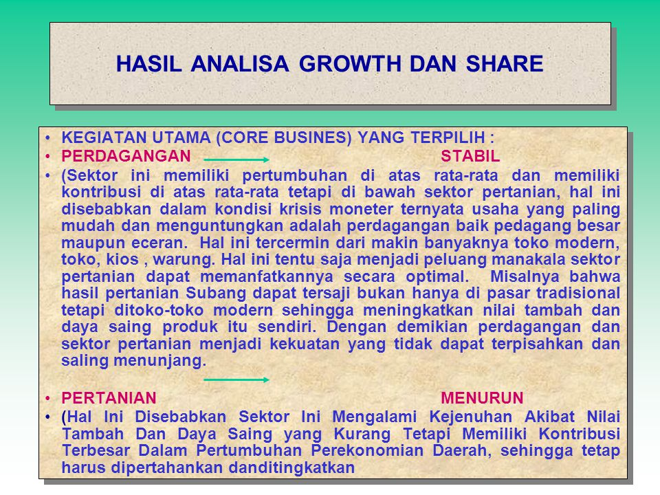 ANALISIS GROWTH AND SHARE ANALISIS GROWTH AND SHARE PERDAGANGAN INDUSTRI PENGOLAHAN RESTAURAN JASA PEMERINTAHAN UMUM KONDISI STABIL PERTAMBANGAN DAN P