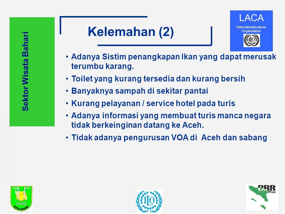 LACA International Labour Organization Kelemahan (2) Sektor Wisata Bahari Adanya Sistim penangkapan Ikan yang dapat merusak terumbu karang.