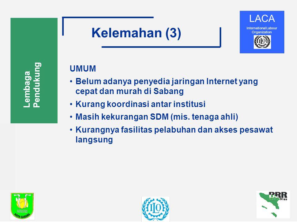 LACA International Labour Organization Kelemahan (3) Lembaga Pendukung UMUM Belum adanya penyedia jaringan Internet yang cepat dan murah di Sabang Kurang koordinasi antar institusi Masih kekurangan SDM (mis.