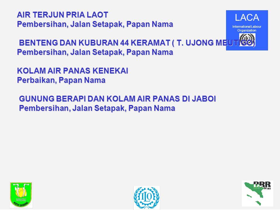 LACA International Labour Organization AIR TERJUN PRIA LAOT Pembersihan, Jalan Setapak, Papan Nama BENTENG DAN KUBURAN 44 KERAMAT ( T.