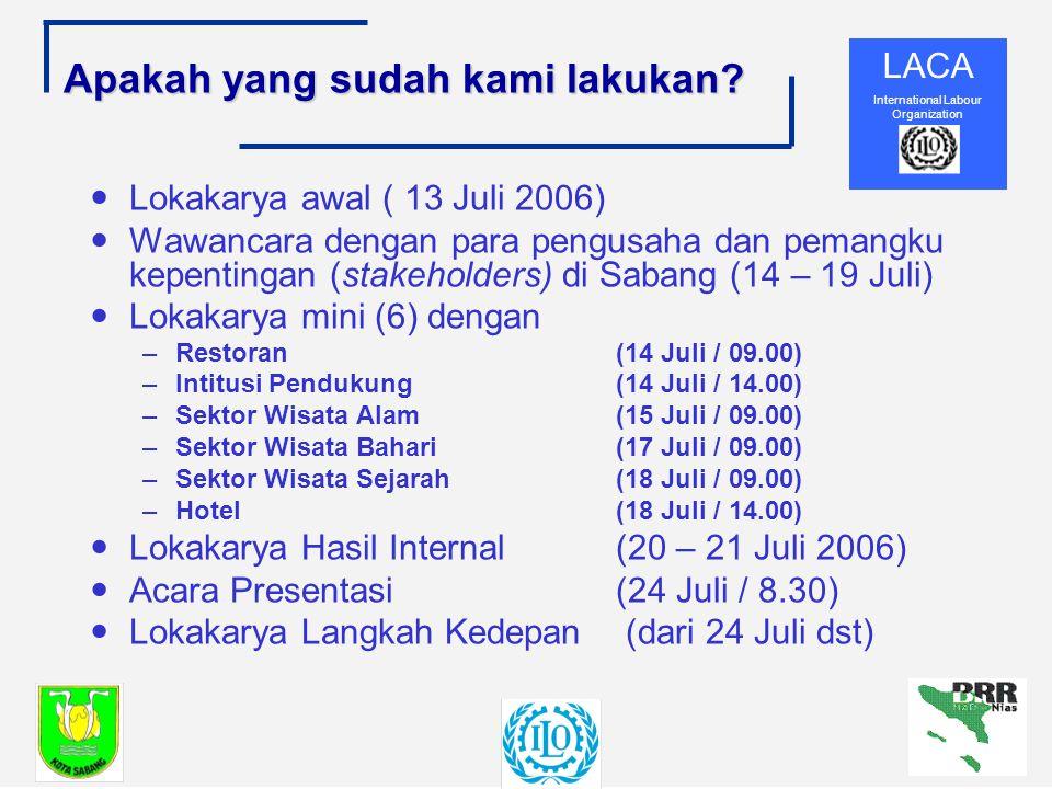 LACA International Labour Organization Apakah yang sudah kami lakukan.
