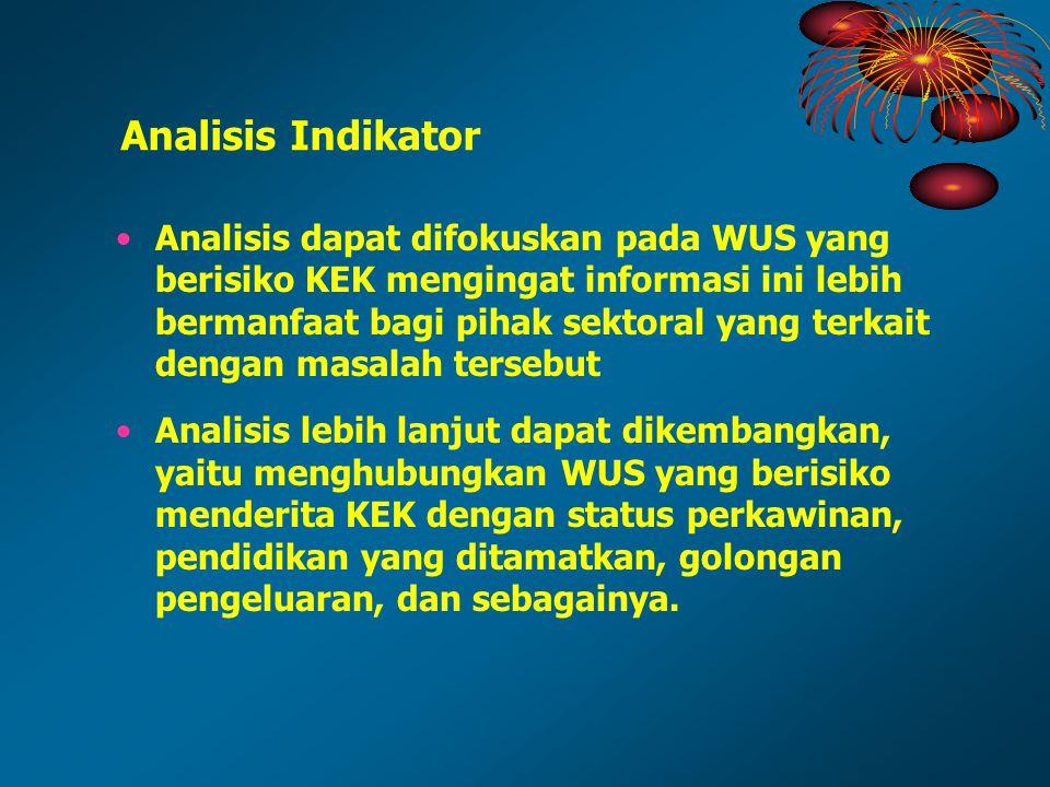 Analisis dapat difokuskan pada WUS yang berisiko KEK mengingat informasi ini lebih bermanfaat bagi pihak sektoral yang terkait dengan masalah tersebut