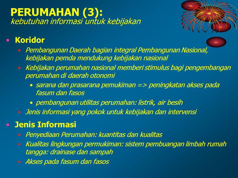 PERUMAHAN (3): kebutuhan informasi untuk kebijakan Koridor Pembangunan Daerah bagian integral Pembangunan Nasional, kebijakan pemda mendukung kebijaka