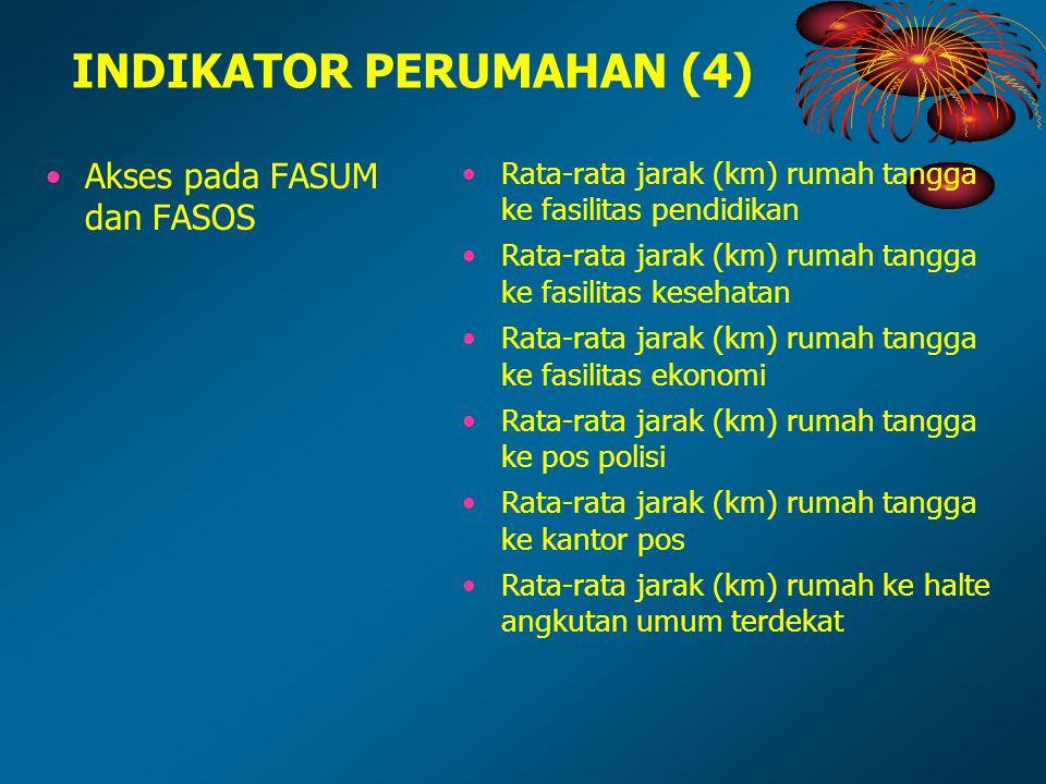 INDIKATOR PERUMAHAN (4) Akses pada FASUM dan FASOS Rata-rata jarak (km) rumah tangga ke fasilitas pendidikan Rata-rata jarak (km) rumah tangga ke fasi