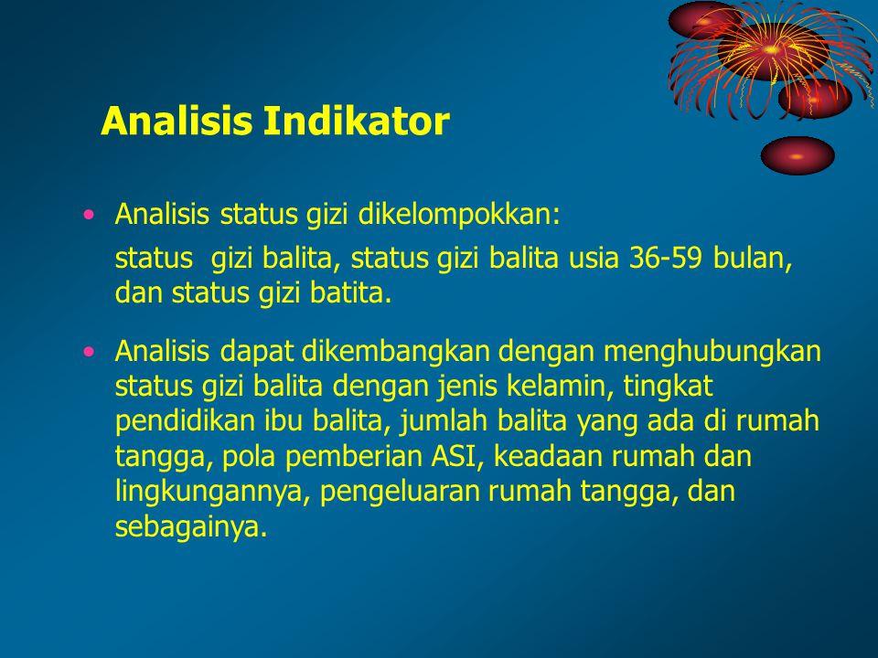 Analisis status gizi dikelompokkan: status gizi balita, status gizi balita usia 36-59 bulan, dan status gizi batita. Analisis dapat dikembangkan denga