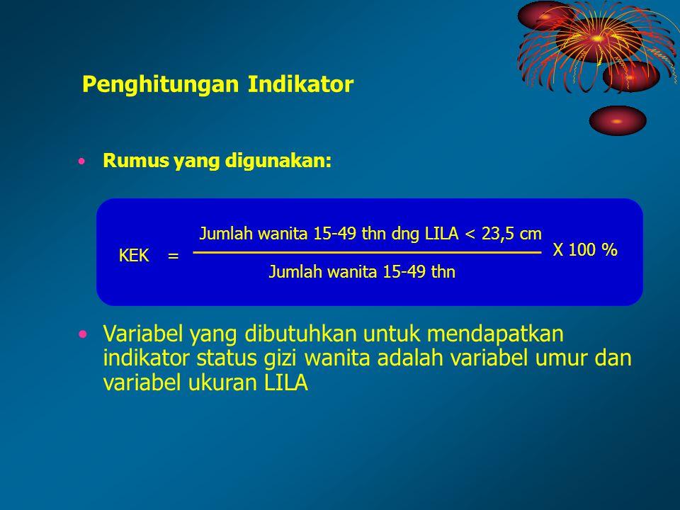 Rumus yang digunakan: Variabel yang dibutuhkan untuk mendapatkan indikator status gizi wanita adalah variabel umur dan variabel ukuran LILA Penghitung