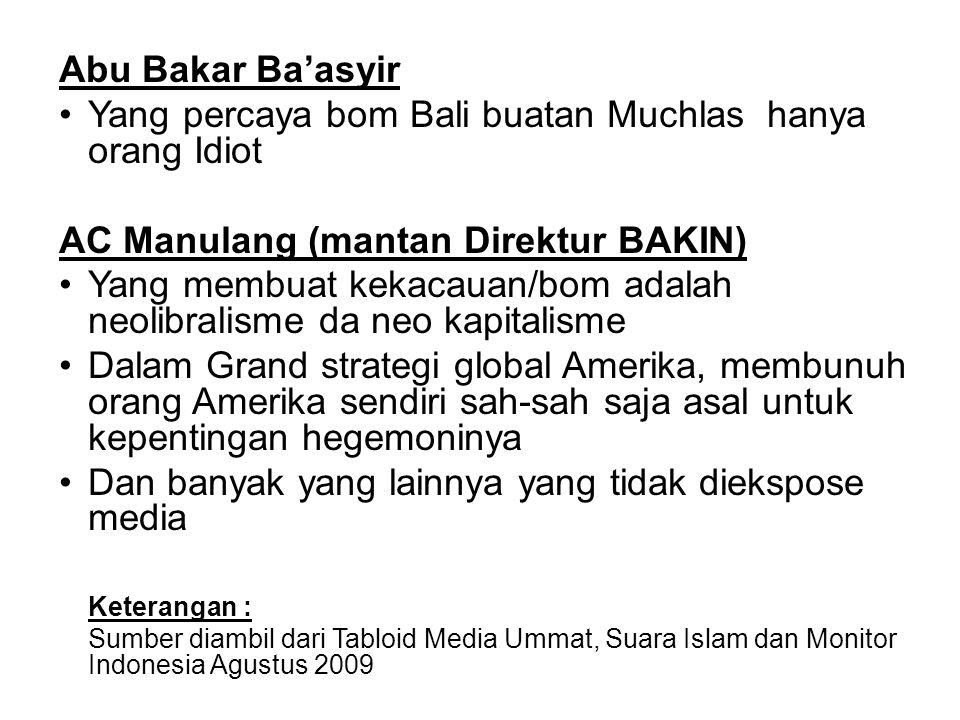 Abu Bakar Ba'asyir Yang percaya bom Bali buatan Muchlas hanya orang Idiot AC Manulang (mantan Direktur BAKIN) Yang membuat kekacauan/bom adalah neolib