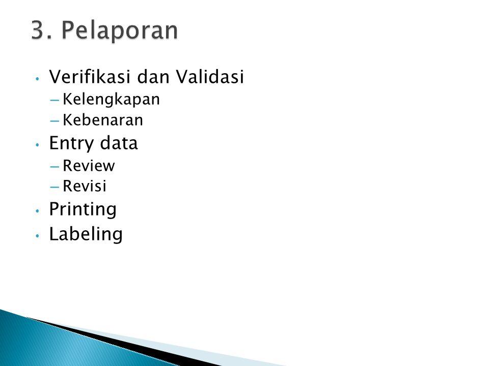 Verifikasi dan Validasi – Kelengkapan – Kebenaran Entry data – Review – Revisi Printing Labeling