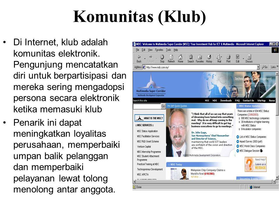 Komunitas (Klub) Di Internet, klub adalah komunitas elektronik.