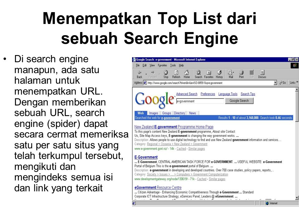 Memperbaiki Peringkat E- Government dalam Daftar Search Engine Cukup dengan menambahkan, menghilangkan, atau mengubah sedikit kalimat, maka perancang Web akan mengubah spider dalam search engine untuk meranking temuan-temuannya.