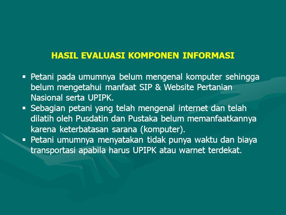 HASIL EVALUASI KOMPONEN INFORMASI  Petani pada umumnya belum mengenal komputer sehingga belum mengetahui manfaat SIP & Website Pertanian Nasional ser