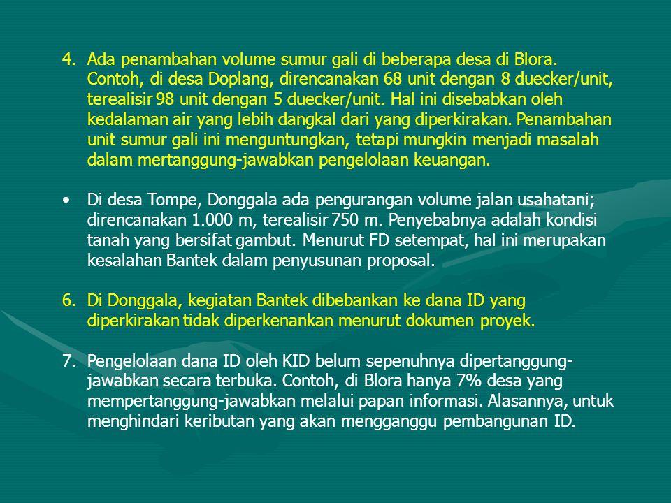 4.Ada penambahan volume sumur gali di beberapa desa di Blora. Contoh, di desa Doplang, direncanakan 68 unit dengan 8 duecker/unit, terealisir 98 unit