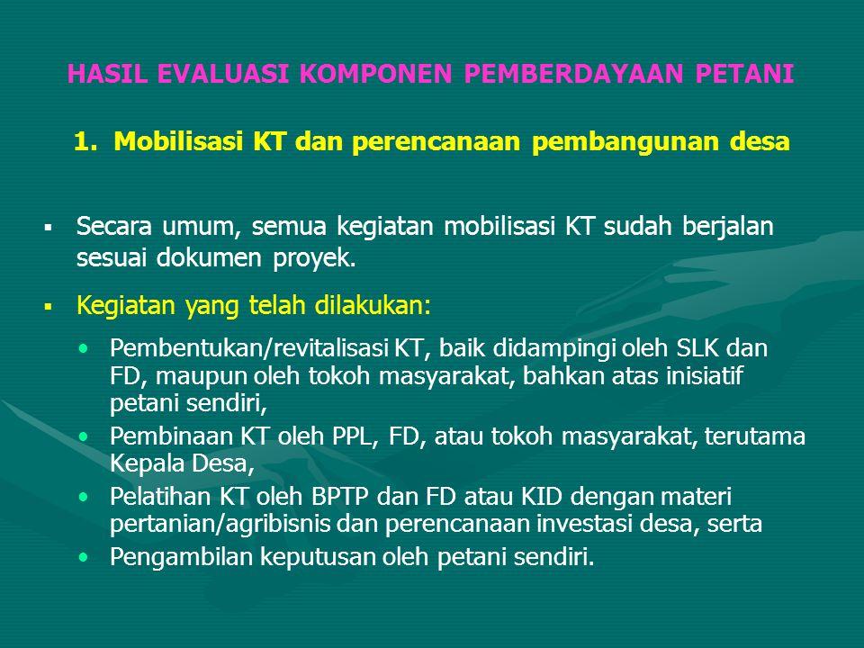 Pembentukan/revitalisasi KT, baik didampingi oleh SLK dan FD, maupun oleh tokoh masyarakat, bahkan atas inisiatif petani sendiri, Pembinaan KT oleh PP