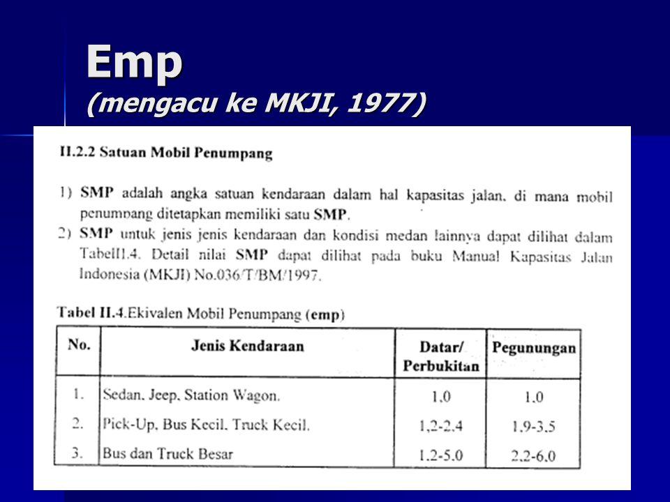 Emp (mengacu ke MKJI, 1977)