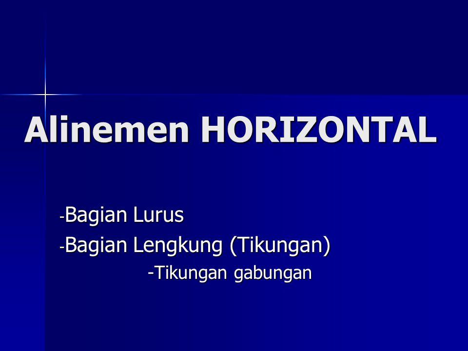 Alinemen HORIZONTAL - Bagian Lurus - Bagian Lengkung (Tikungan) -Tikungan gabungan