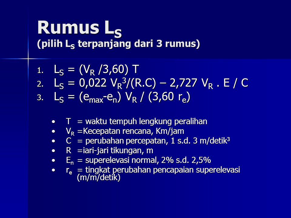 Rumus L S (pilih L S terpanjang dari 3 rumus) 1. L S = (V R /3,60) T 2. L S = 0,022 V R 3 /(R.C) – 2,727 V R. E / C 3. L S = (e max -e n ) V R / (3,60