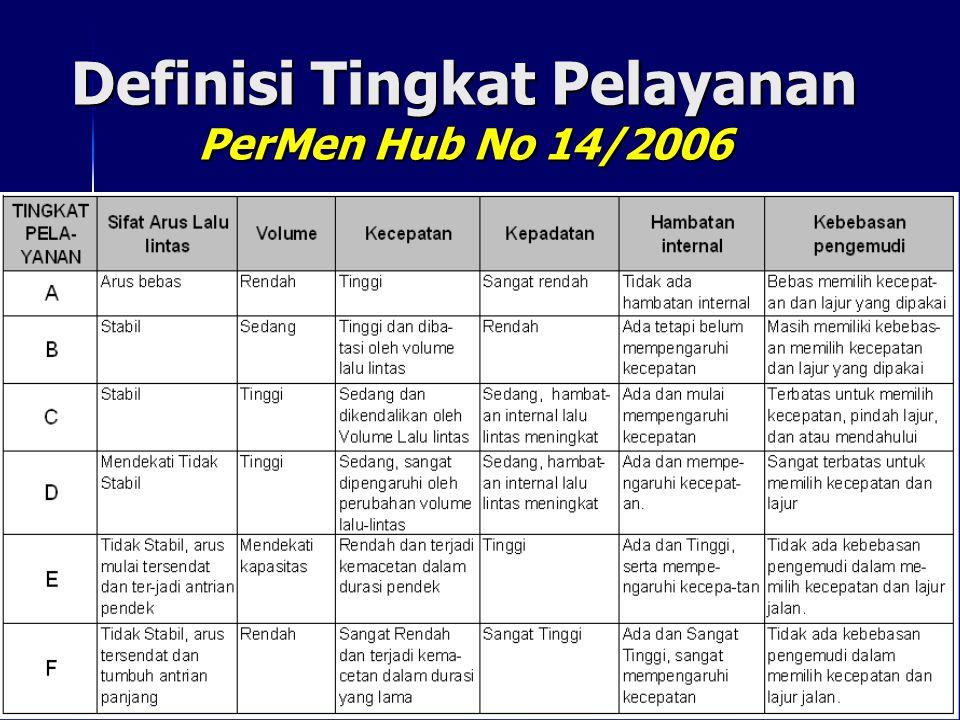Definisi Tingkat Pelayanan PerMen Hub No 14/2006