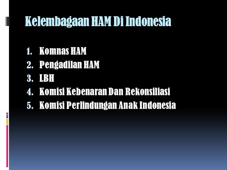 Kelembagaan HAM Di Indonesia 1.Komnas HAM 2. Pengadilan HAM 3.
