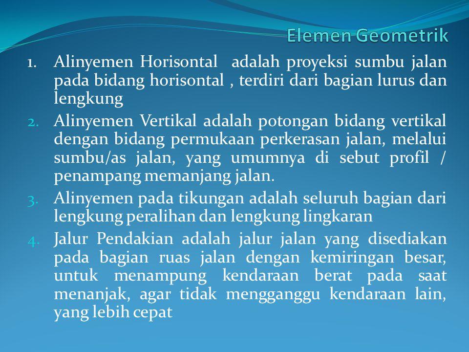 1.Alinyemen Horisontal adalah proyeksi sumbu jalan pada bidang horisontal, terdiri dari bagian lurus dan lengkung 2.