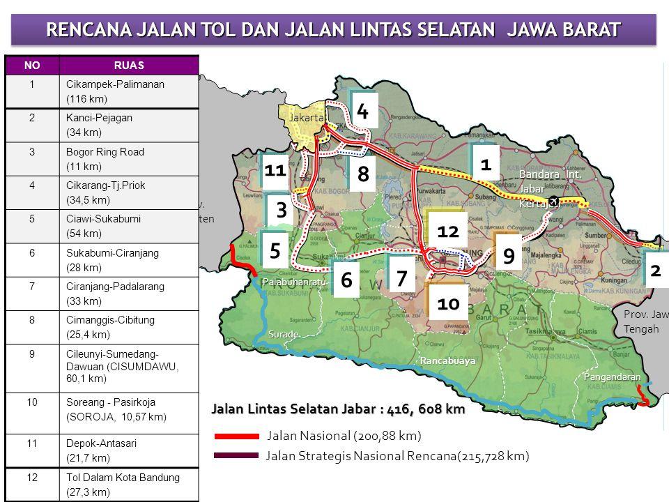 Jakarta Prov. Banten Prov. Jawa Tengah RENCANA JALAN TOL DAN JALAN LINTAS SELATAN JAWA BARAT 3 9 4 NORUAS 1Cikampek-Palimanan (116 km) 2Kanci-Pejagan