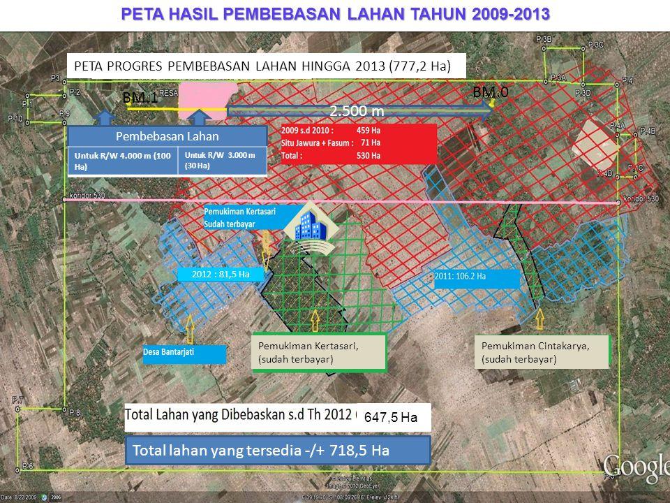 PETA HASIL PEMBEBASAN LAHAN TAHUN 2009-2013 2.500 m Pembebasan Lahan Untuk R/W 4.000 m (100 Ha) Untuk R/W 3.000 m (30 Ha) Total lahan yang tersedia -/
