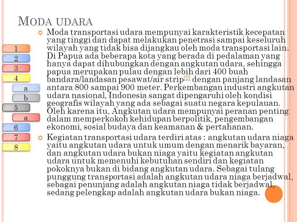 M ODA UDARA Moda transportasi udara mempunyai karakteristik kecepatan yang tinggi dan dapat melakukan penetrasi sampai keseluruh wilayah yang tidak bi
