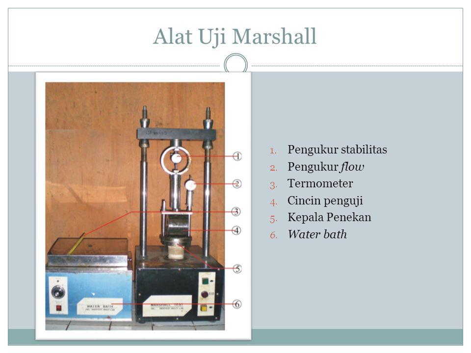 Alat Uji Marshall 1. Pengukur stabilitas 2. Pengukur flow 3. Termometer 4. Cincin penguji 5. Kepala Penekan 6. Water bath