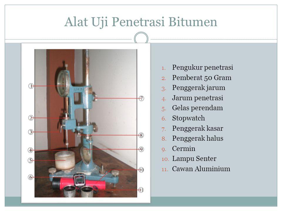 Alat Uji Penetrasi Bitumen 1. Pengukur penetrasi 2. Pemberat 50 Gram 3. Penggerak jarum 4. Jarum penetrasi 5. Gelas perendam 6. Stopwatch 7. Penggerak