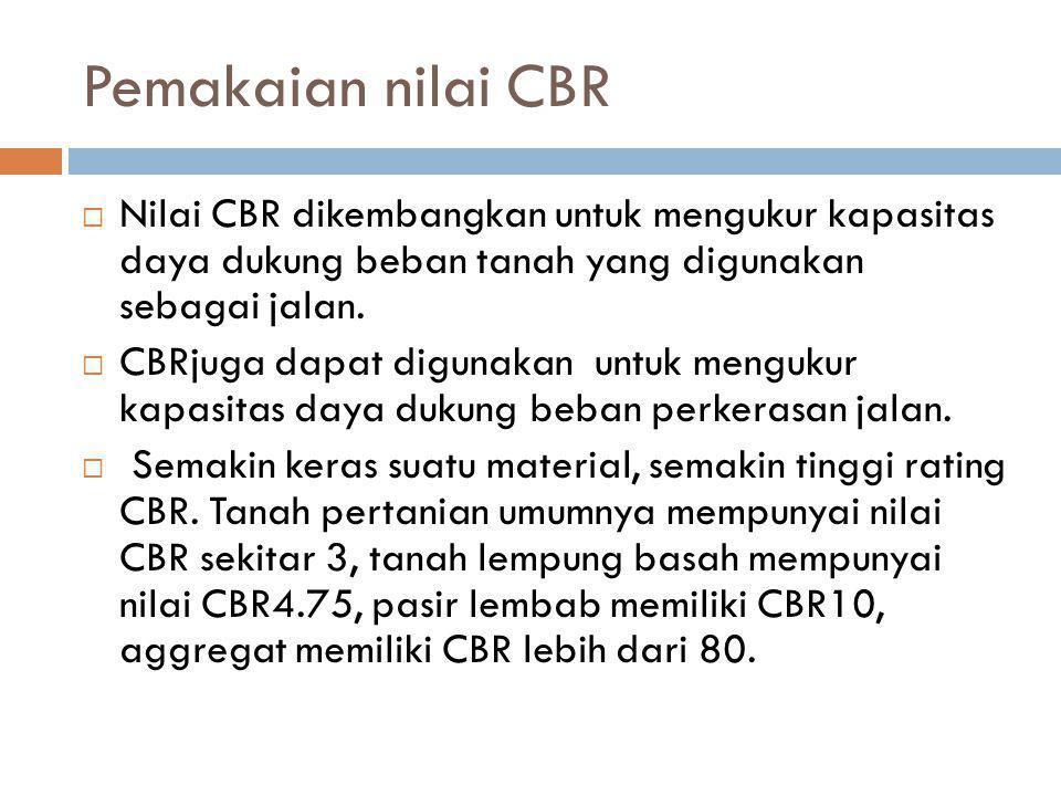 Pemakaian nilai CBR  Nilai CBR dikembangkan untuk mengukur kapasitas daya dukung beban tanah yang digunakan sebagai jalan.  CBRjuga dapat digunakan