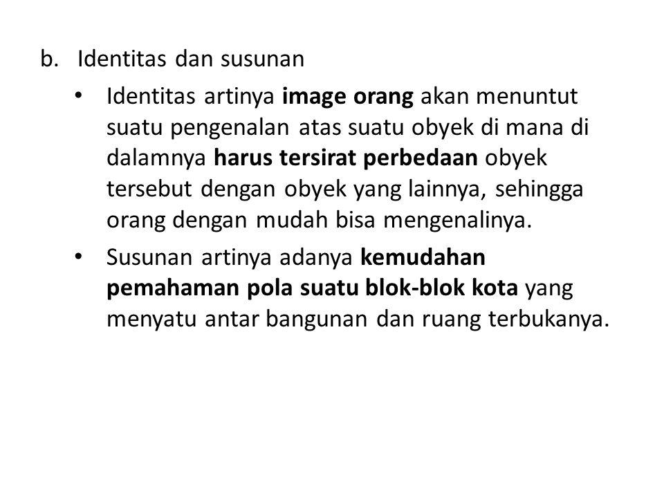 b.Identitas dan susunan Identitas artinya image orang akan menuntut suatu pengenalan atas suatu obyek di mana di dalamnya harus tersirat perbedaan obyek tersebut dengan obyek yang lainnya, sehingga orang dengan mudah bisa mengenalinya.