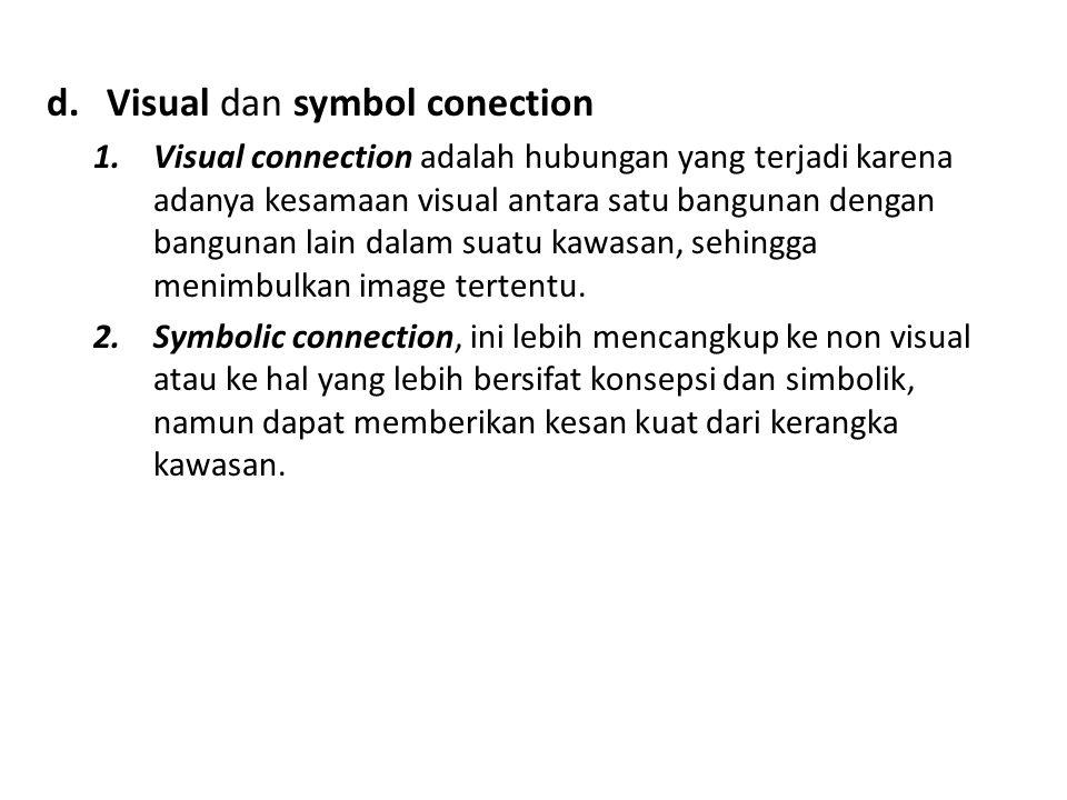 d.Visual dan symbol conection 1.Visual connection adalah hubungan yang terjadi karena adanya kesamaan visual antara satu bangunan dengan bangunan lain dalam suatu kawasan, sehingga menimbulkan image tertentu.