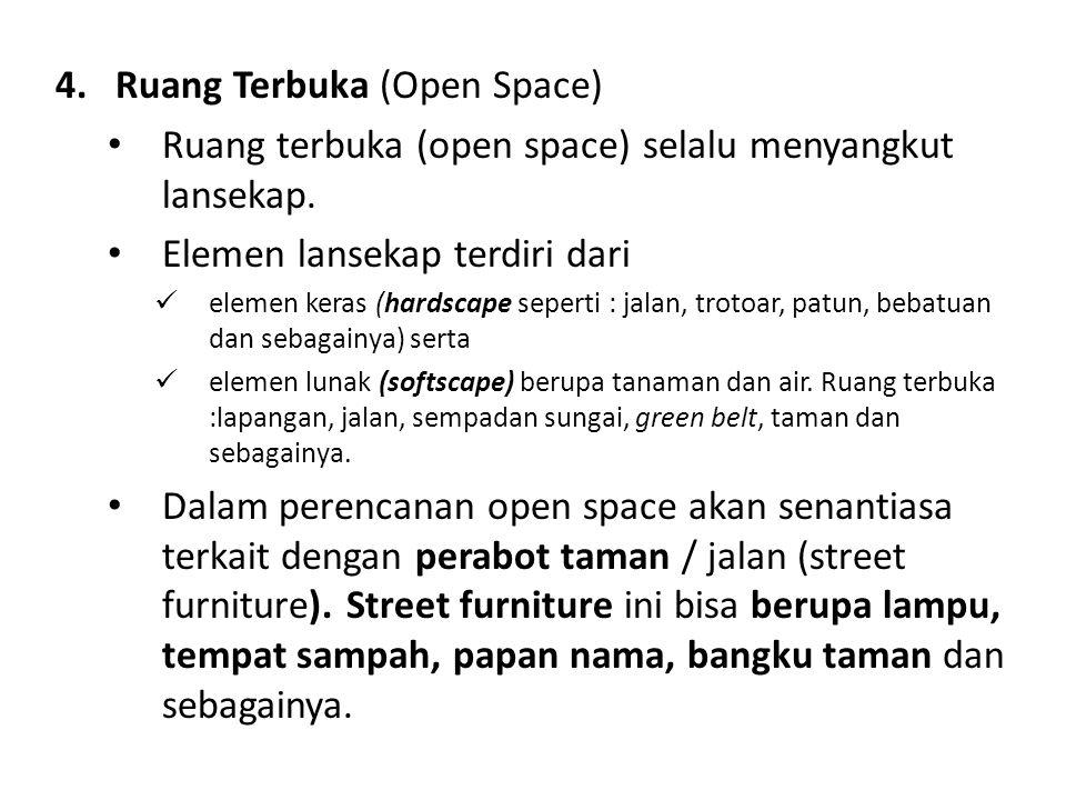 4.Ruang Terbuka (Open Space) Ruang terbuka (open space) selalu menyangkut lansekap. Elemen lansekap terdiri dari elemen keras (hardscape seperti : jal