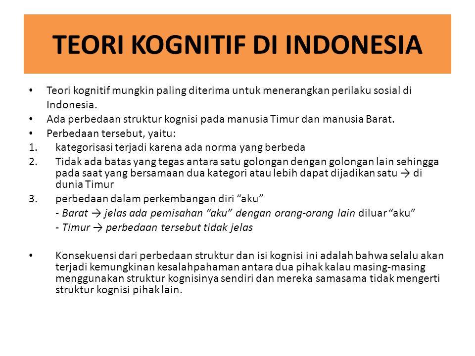 TEORI KOGNITIF DI INDONESIA Teori kognitif mungkin paling diterima untuk menerangkan perilaku sosial di Indonesia. Ada perbedaan struktur kognisi pada