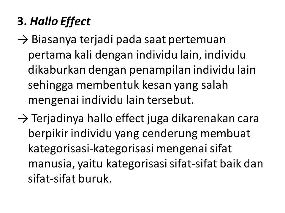 3. Hallo Effect → Biasanya terjadi pada saat pertemuan pertama kali dengan individu lain, individu dikaburkan dengan penampilan individu lain sehingga