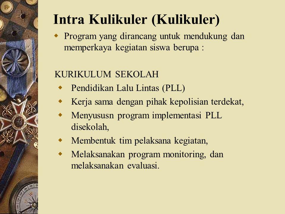 Intra Kulikuler (Kulikuler)  Program yang dirancang untuk mendukung dan memperkaya kegiatan siswa berupa : KURIKULUM SEKOLAH  Pendidikan Lalu Lintas